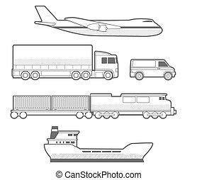 飛機, 卡車, 汽車, 船, train., 黑色 和 白色, 矢量, 集合, 運輸