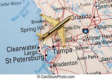 飛機, 在上方, 中央, 佛羅里達