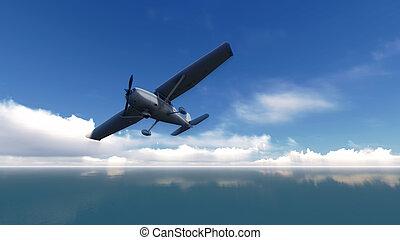 飛機, 在上方, the, ocean.