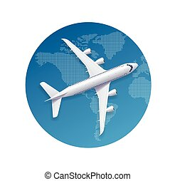 飛機, 旅行, concept., 矢量