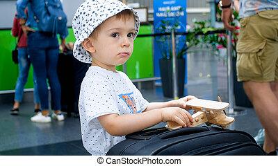 飛機, 機場, 肖像, 玩具, 男孩, 小提箱, 很少, 玩, 終端