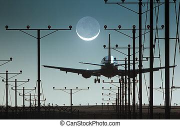 飛機, 著陸, 在, 機場, 夜間