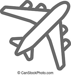 飛機, 黑色, outline