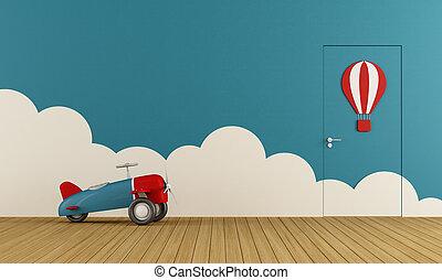 飛行機, おもちゃ, 空, 遊戯場
