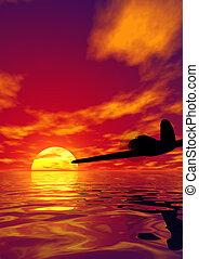 飛行機, そして, 日没