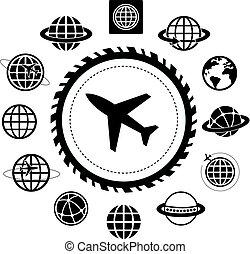 飛行機, アイコン, セット, 地球