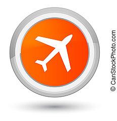 飛行機, アイコン, 全盛, オレンジ, ラウンド, ボタン