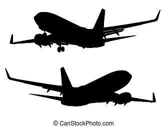 飛行機, シルエット, 着陸