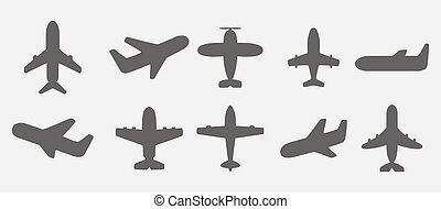 飛行機, ベクトル, アイコン