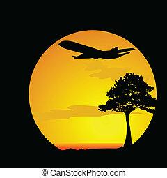 飛行機, ベクトル, 砂漠, イラスト