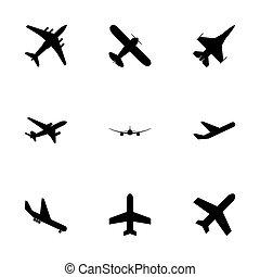 飛行機, ベクトル, 黒, セット, アイコン