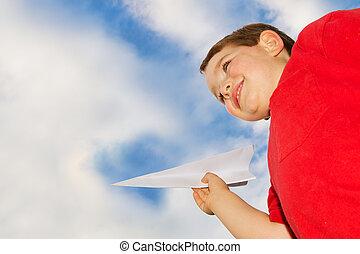 飛行機, ペーパー, 遊び, 子供
