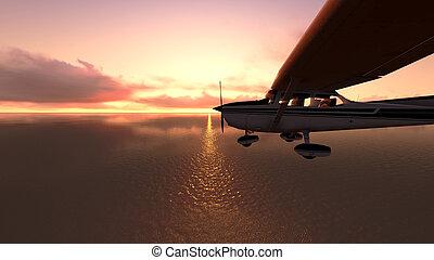 飛行機, 上に, ∥, ocean.