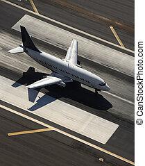 飛行機, 上に, runway.