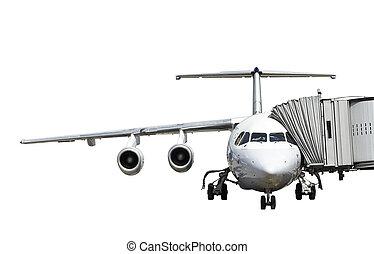 飛行機, 中に, 準備, 隔離された, 白