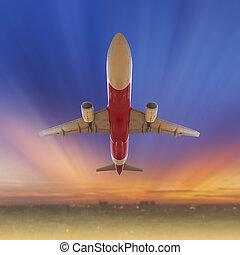 飛行機, 中に, ∥, 空