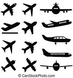 飛行機, 中に, 黒