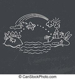 飛行機, 図画, -, 飛行, freehand