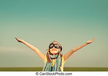 飛行機, 幸せ, 遊び, 子供, 屋外で