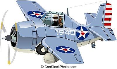 飛行機, 戦闘機, 漫画, レトロ