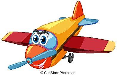 飛行機, 特徴, 目, 漫画, 隔離された, 大きい