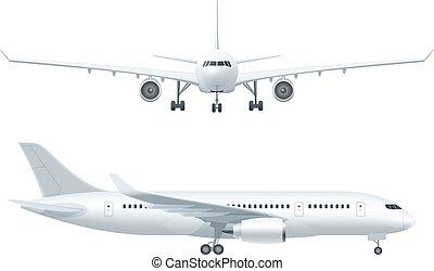飛行機, 現実的, アイコン, セット