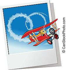飛行機, 発送, 結婚式, メッセージ