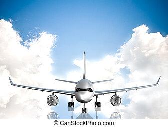 飛行機, 空, 背景