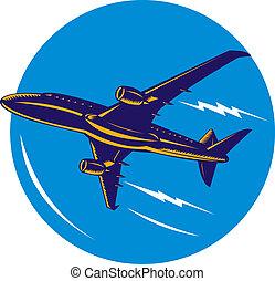 飛行機, 角度, 低い, ジェット機