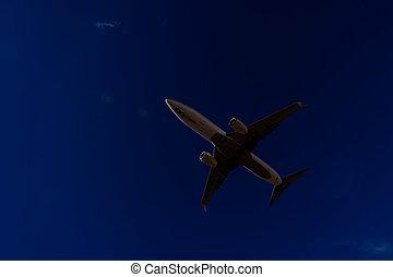飛行機, 飛行, シルエット