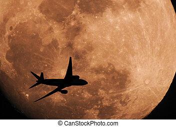 飛行機, 飛行, シルエット, 横切って, 月