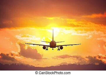 飛行機, 飛行, シルエット, sunset.
