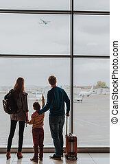 飛行機, 飛行, ロビー, 家族, 監視