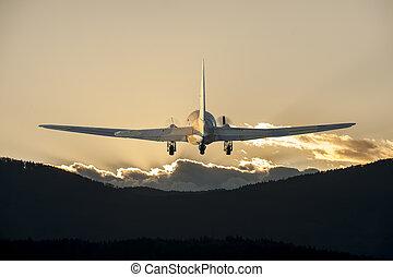 飛行機, 飛行, 日没, 時間