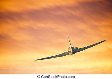 飛行機, 飛行, 雲