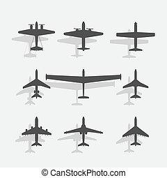 飛行機, 黒, アイコン