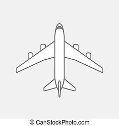 飛行機, 黒, アウトライン