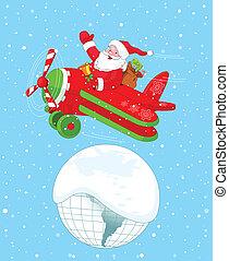 飛行機, santa, クリスマス, 彼の, 飛行