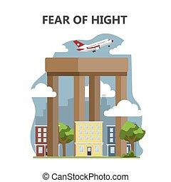 飛行, ∥あるいは∥, 高く, 恐れ, 高さ, acrophobia., 飛行機