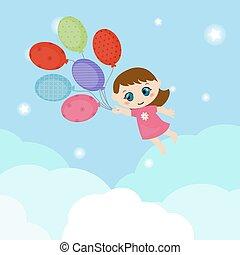飛行, わずかしか, balloons., 女の子