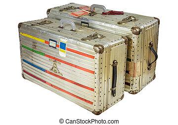 飛行, アルミニウム, スーツケース, 型, 隔離された, 白