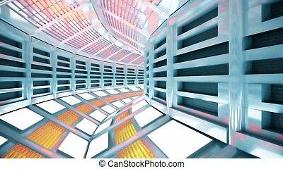 飛行, サイエンスフィクション, 宇宙船, レンダリング, corridor., 3d