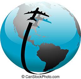 飛行, ジェット機, 上に, 道, 地球, 飛行機, 影