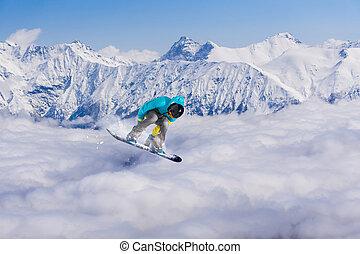 飛行, スノーボーダー, 上に, 山