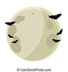 飛行, フルである, コウモリ, 夜, 月