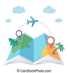 飛行, ベクトル, 目的地, スタイル, 平ら, 概念