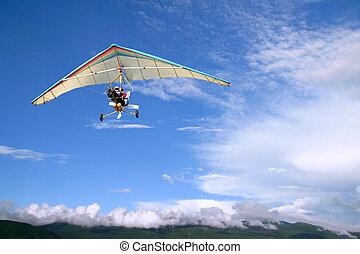 飛行, モーターを備えられる, グライダー, こつ