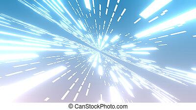 飛行, ライン, バックグラウンド。, イラスト, レトロ, 背景, 白熱, 抽象的, stripes., 白熱, ネオン, 未来派, 青, 3d