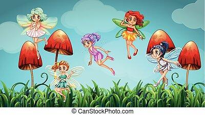 飛行, 妖精, 庭, きのこ