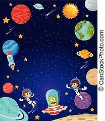 飛行, 宇宙飛行士, 子供, space., 漫画